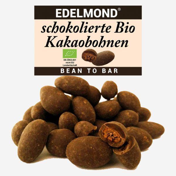 geröstete und schokolierte Bio Kakaobohnen