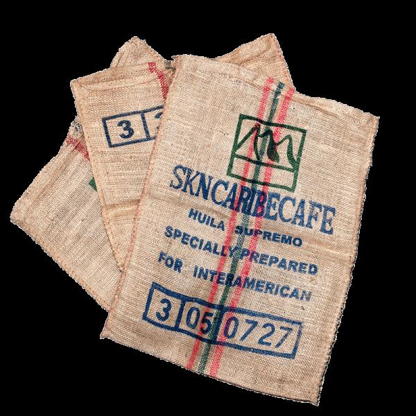 3 Kaffeesäcke, Originale aus Kolumbien